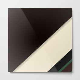 Modern Black Cream and Green Stripe Pattern Metal Print