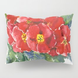 Red Flowers, Primula, red floral design Pillow Sham