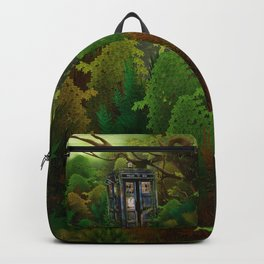 Abandoned Tardis doctor who in deep jungle Backpack