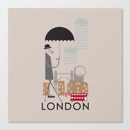 London - In the City - Retro Travel Poster Design Canvas Print