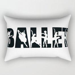 Ballet in Black with Ballerina Cutouts Rectangular Pillow