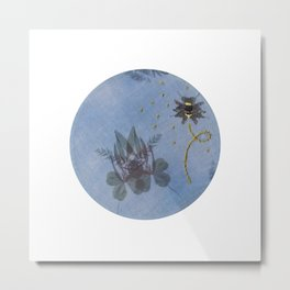 Embroidered Ghostly Bee With Anthotype Cicada Metal Print