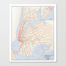 Plans for New York Subway Expansion, 1920 Canvas Print