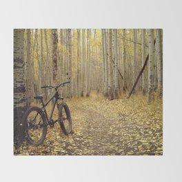 Golden Aspen Mountain Biking Throw Blanket