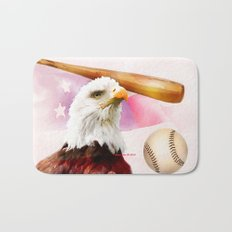 Baseball American Made By Annie Zeno Bath Mat