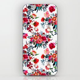 Bohemian pink green hand painted floral feathers pattern iPhone Skin