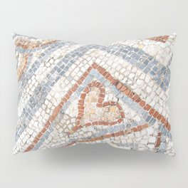 Mosaic Heart | Cute Red Blue and White Tile Old World Charming Decorative Cool Stone Photograph Pillow Sham