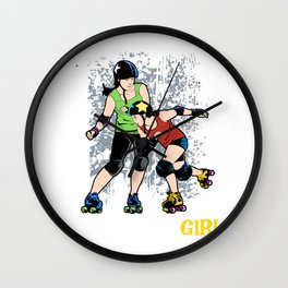 Hit Like A Girl Womens Roller Skater Gift Product Roller Derby Design Wall Clock