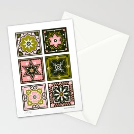 Talavera Mexican Tile – Blush & Sage Palette Stationery Cards