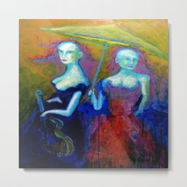 Courtesan's Musical Outing Abstract Painting Metal Print