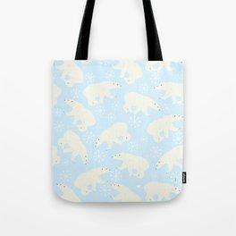 Polar Bear Snow Flake Pattern Tote Bag