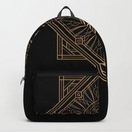 Swan Vintage Art Deco Gold Ornament Backpack