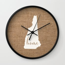 New Hampshire is Home - White on Burlap Wall Clock