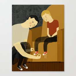 Tying Shoes Canvas Print