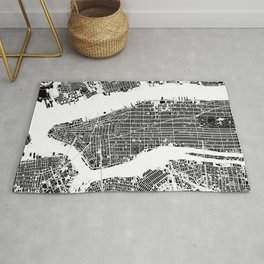New York city map black and white Rug