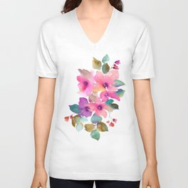 Lovely pink flowers. Watercolor florals Unisex V-Neck