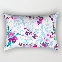 Abstract pastel blue pink country flowers pattern Rectangular Pillow