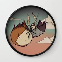 skyfall Wall Clocks featuring SkyFall by Bright Raven Designs