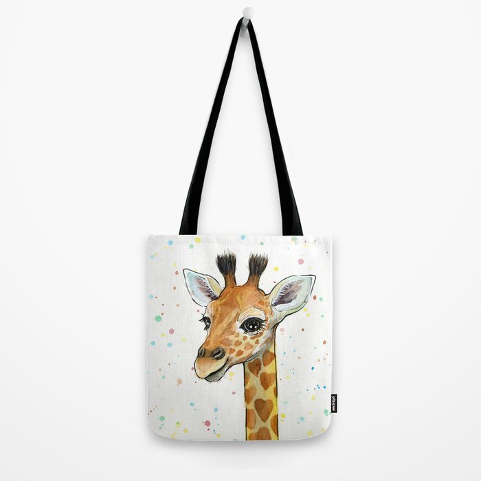 Giraffe Baby Animal with Hearts Watercolor Cute Whimsical Animals Nursery Tote Bag
