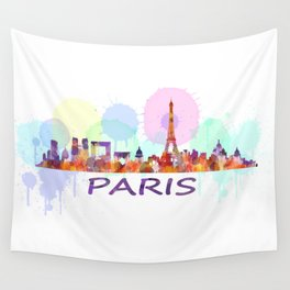 Paris City Skyline HQ, Watercolor Wall Tapestry