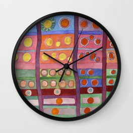 Colorful Grid Pattern with Numerous Circles Wall Clock