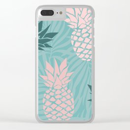Tropical Pineapple and Palm Leaf Pattern, Teal and Pink Clear iPhone Case