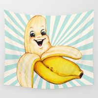 banana Wall Tapestries featuring Banana by Kelly Gilleran