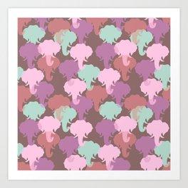 Pastel Elephant Camouflage Pattern Art Print