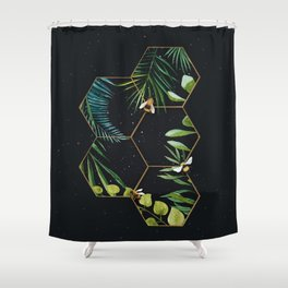 Bee Green Shower Curtain