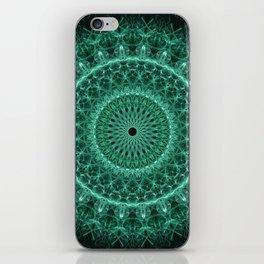 Pretty glowing green mandala iPhone Skin