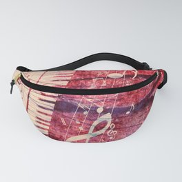 Illustration of a piano keys with musical notes and red rose Fanny Pack