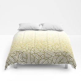 Gradient yellow and white swirls doodles Comforters