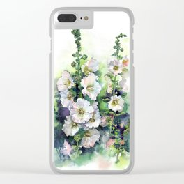 Watercolor Hollyhocks white flowers Clear iPhone Case