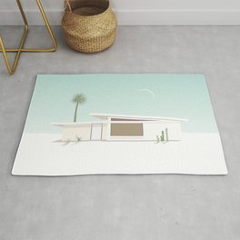 Palm Springs Midcentury White House with Moon Rug