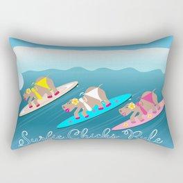 Surfie Chicks Rule Rectangular Pillow