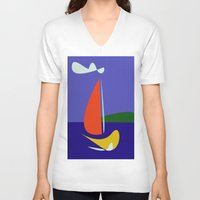 sailboat V-neck T-shirts featuring cute sailboat by laika in cosmos