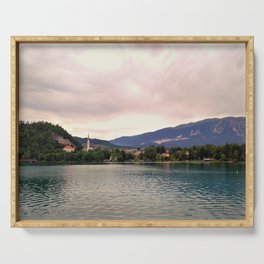 Peaceful Lake Bled, Slovenia Serving Tray