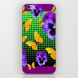 PURPLE PANSIES BUTTERFLY GREEN COLLAGE iPhone Skin