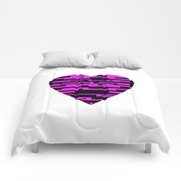 Glitching Hearts — Black and Pink Comforters