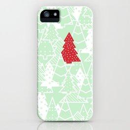Elegant Green Christmas Trees Holiday Pattern iPhone Case