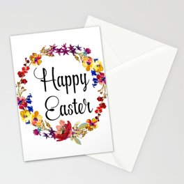 Happy Easter floral wreath Stationery Cards