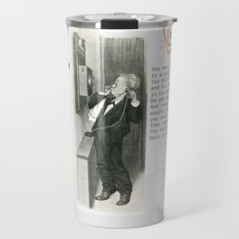 Cat, telephone and Albert Einstein quote Travel Mug