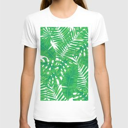 Tropical leaves pattern T-shirt