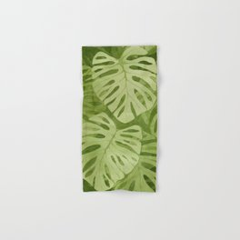 Watercolor Monstera Leaves Hand & Bath Towel