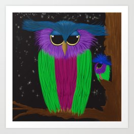 The Prismatic Crested Owl Art Print