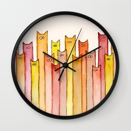 Cats Autumn Colors Pattern Whimsical Cat Orange Red Yellow Animals Wall Clock