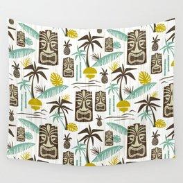 Island Tiki - White Wall Tapestry
