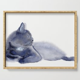 """""""The queen has arrived"""" Expressive Cat Watercolor Painting Serving Tray"""