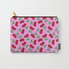 Rockabilly Pink + White Gingham & Cherries Carry-All Pouch