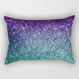 Pretty Sparkly Purple Blue Turquoise Glitter Gradient Rectangular Pillow